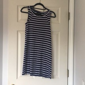 Navy and white striped cotton dress